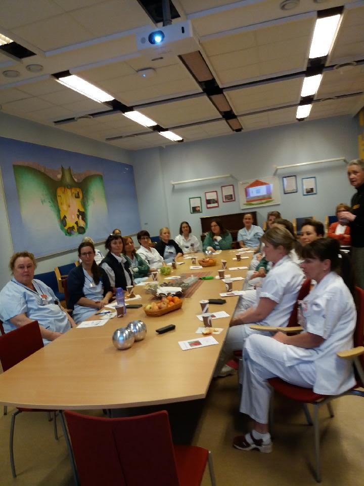 Omkring 20 sjuksköterskor sitter vid ett bord och tittar in i kameran. På bordet står kaffekoppar, frukt och kvinnojourens broschyrer.